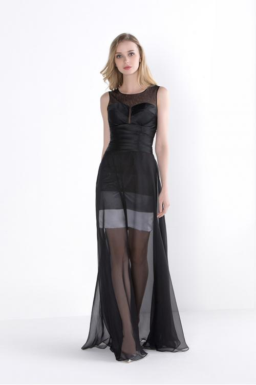 Black Illusion Neck Sleeveless A-line Long Chiffon Junior Prom Dress Simple