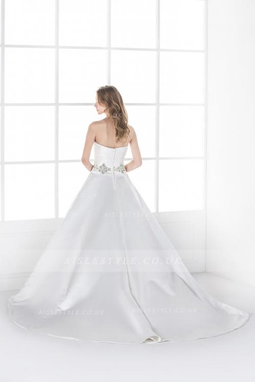 Simple A-line Sweetheart Beading&Crystal Ruching Sweep/Brush Train Satin Wedding Dresses