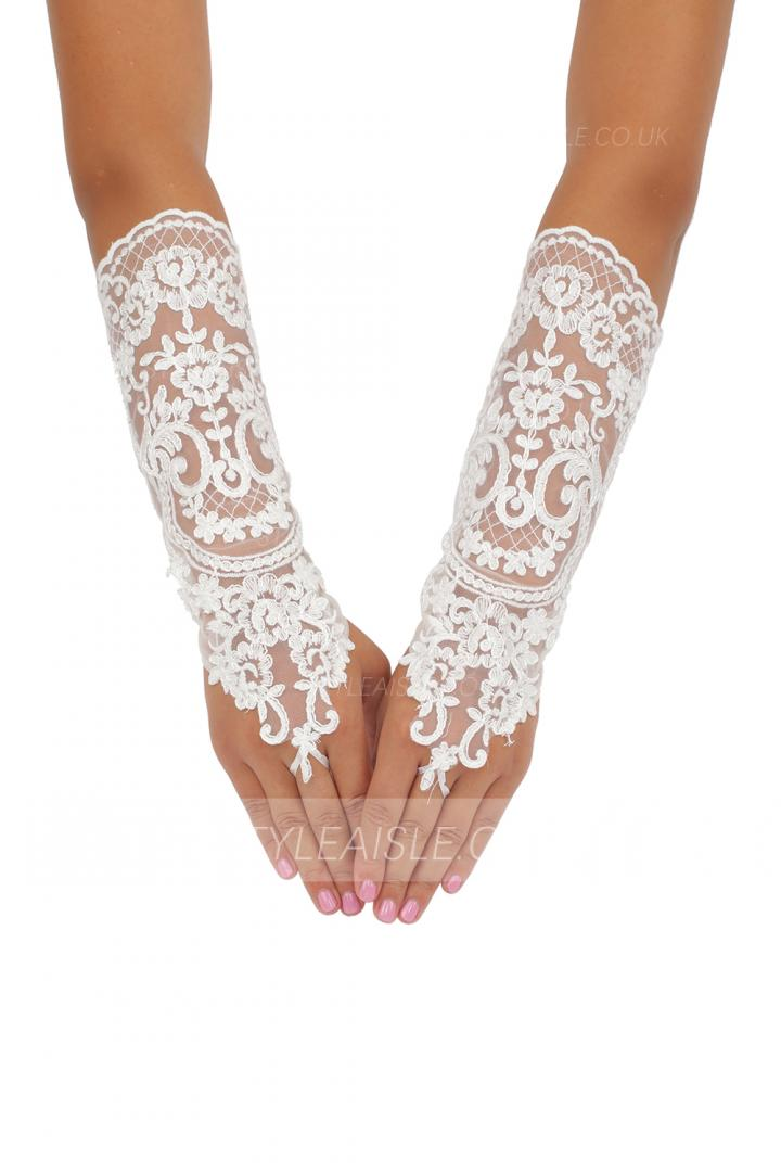 Semi Long Quality Fingerless Lace Embroidered Wedding Gloves For Bride 8BL