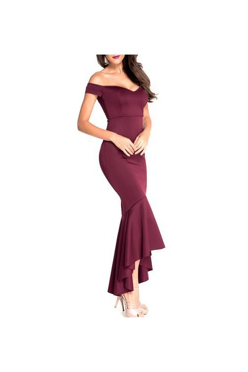 Mermaid Burgundy Off Shoulder Satin Tea Length Prom Dress