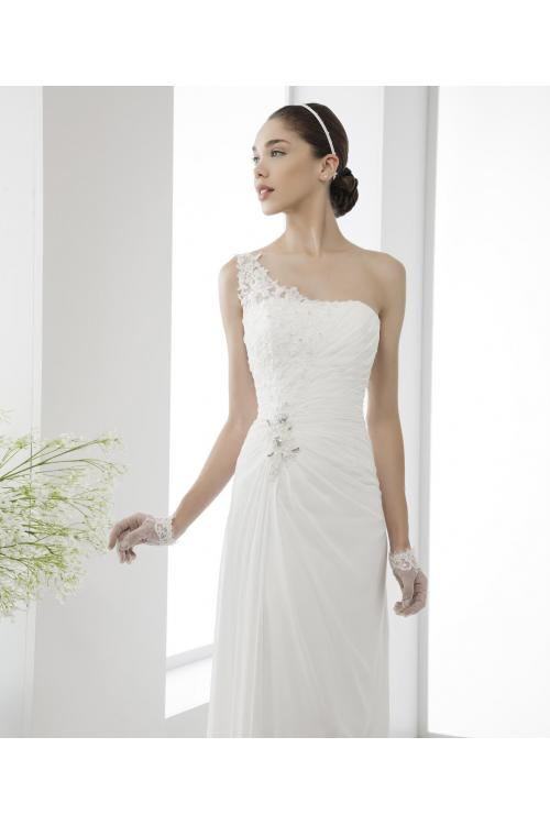 Simple Sheath/Column One Shoulder Beading&Sequins Lace Sweep/Brush Train Chiffon Wedding Dresses