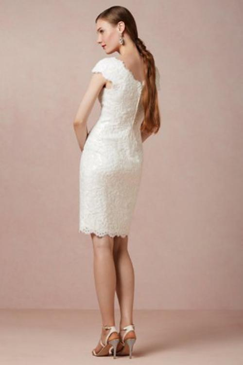 Sheath/Column V-neck Cap Sleeves Short/Mini Ivory Lace Wedding Dresses