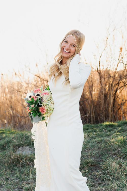 Long Sleeves Lace Trumpet Bohemian Hippie Ivory Jersey Rustic Wedding Dress