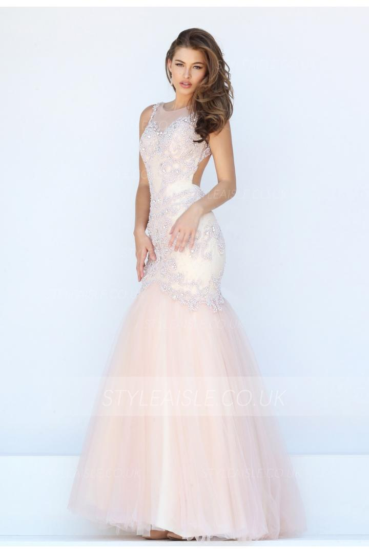trumpet/mermaid bateau sleeveless beading sequins floor-length tulle evening dresses