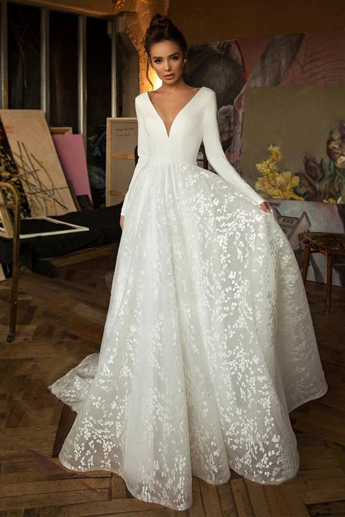 Elegant A-line Deep V-neck Long Sleeve Lace Court Train Long Satin Wedding Dresses