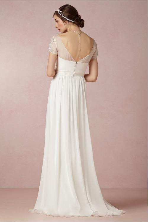 Beach Short Sleeved V Neck Lace Appliqued Crystal Detailing A-line Chiffon Wedding Dress