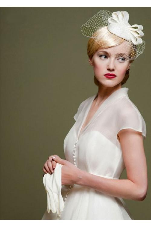 V Neck Cap Sleeved Tea Length Short Wedding Dress with Bow Ribbon