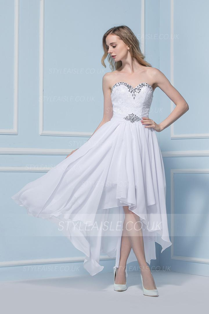 High Low Strapless Beading A-line Chiffon Prom Dress