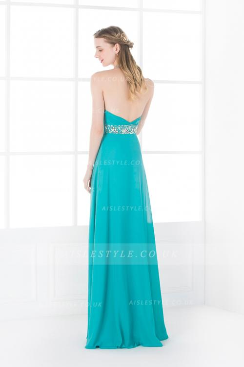Haleter Beading Empire A-line Turquoise Long Chiffon Junior Prom Dress