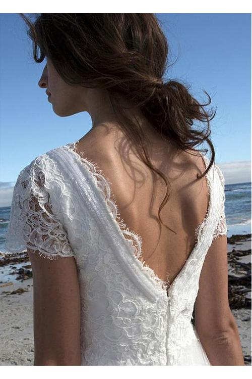 Boho V Neck Empire Lace Tulle Beach Wedding Dress