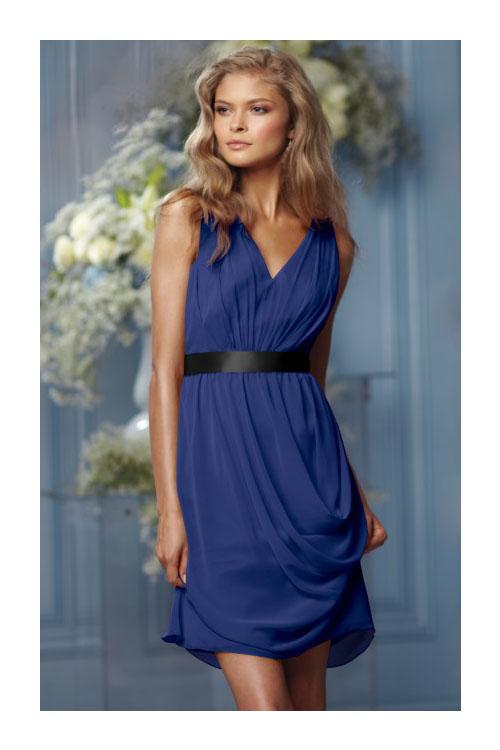 None Natural Sleeveless Knee-length Chiffon Bridesmaid Dresses