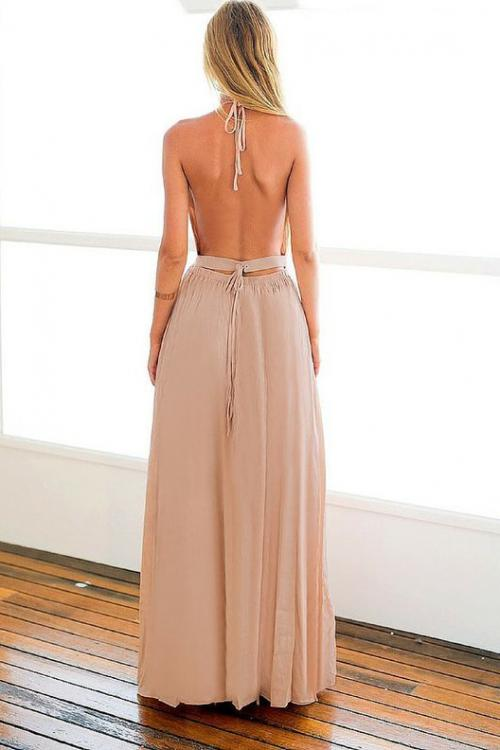 Long Halter Neck Sleeveless A-line Backless Bridesmaid Dress with Slit