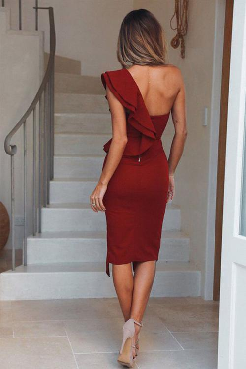 Elegant One Shoulder Under the Tea-length Tight Split Short Chiffon Cocktail Dress