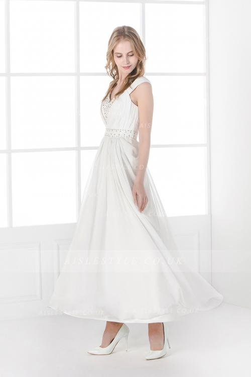 Shoulder Straps Beading A-line Tea Length Ivory Chiffon Civil Wedding Dress