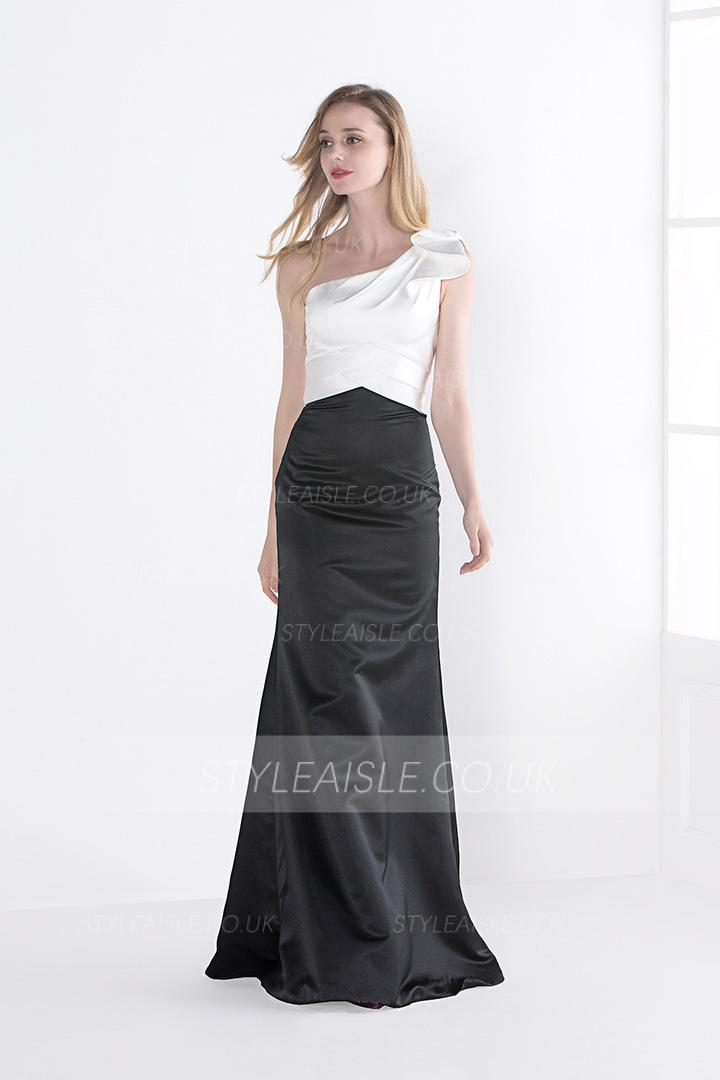 A-line One Shoulder Sleeveless Long Satin Bridesmaid Dress