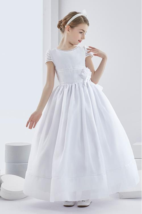 Short Sleeve Ball Gown Long Orgazna First Communion Dress with Flowers and Bow
