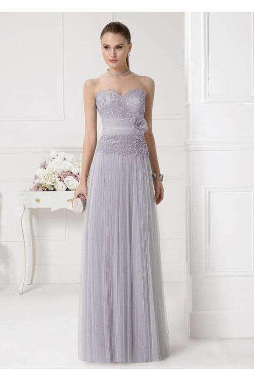 Silver Half Sleeved Lace Top A-line Tulle Bridesmaid Dress