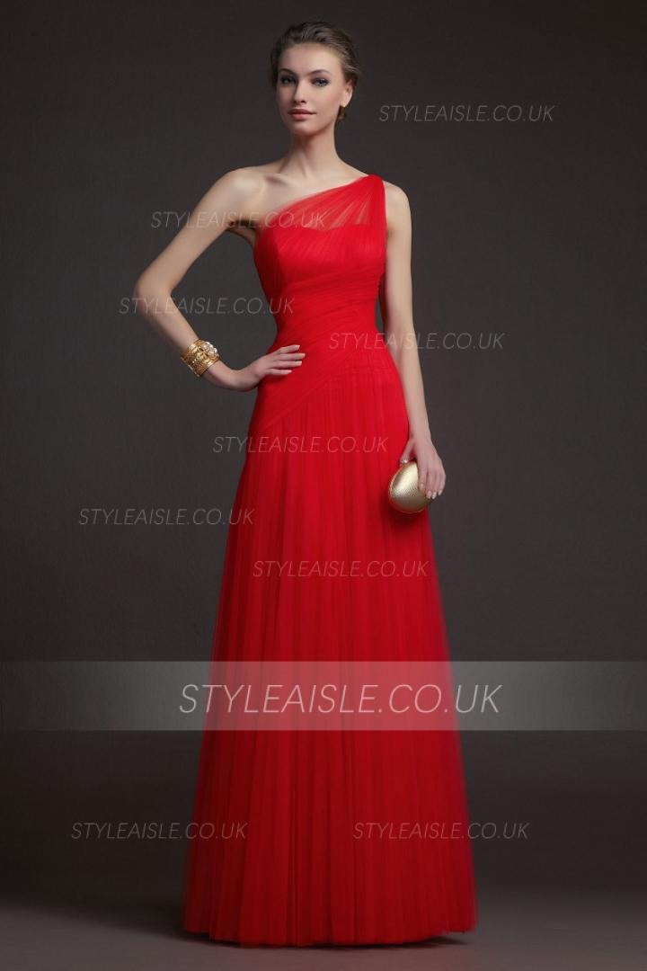 Simple A-line One Shoulder Red Floor-length Tulle Prom Dresses