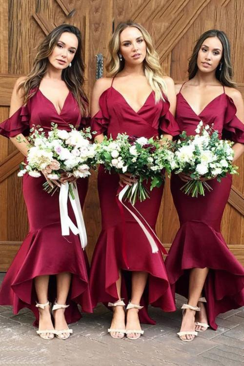 Trumpet/Mermaid V-neck Ruffles Asymmetrical Long Charmeuse Bridesmaid Dresses