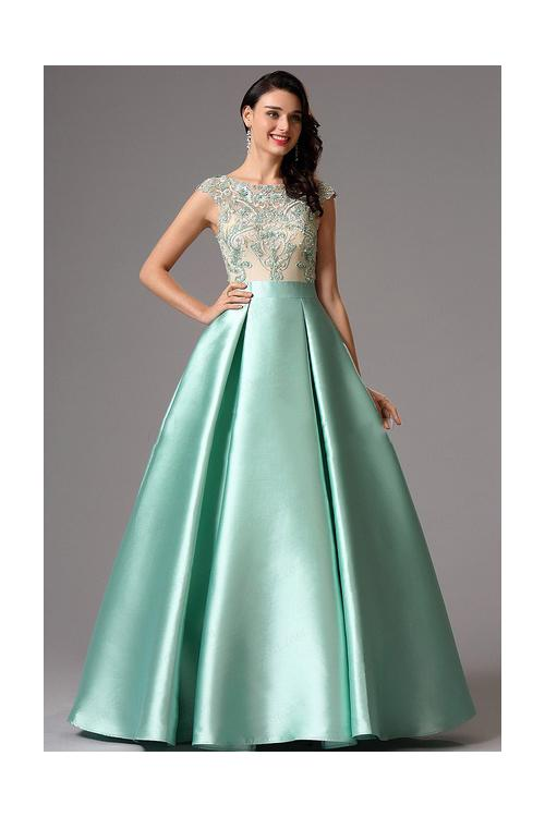 Bateau Neck Long A-line Mint Green Satin Prom Dress with Cap Sleeves