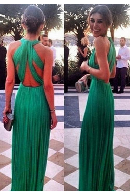 A-line Jewel Sleeveless Pleated Floor-length Long Chiffon Evening Dresses