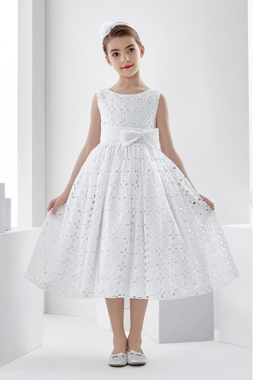 Ball Gown Short Sleeve Hand Made Flowers Tea-length Communion Dress