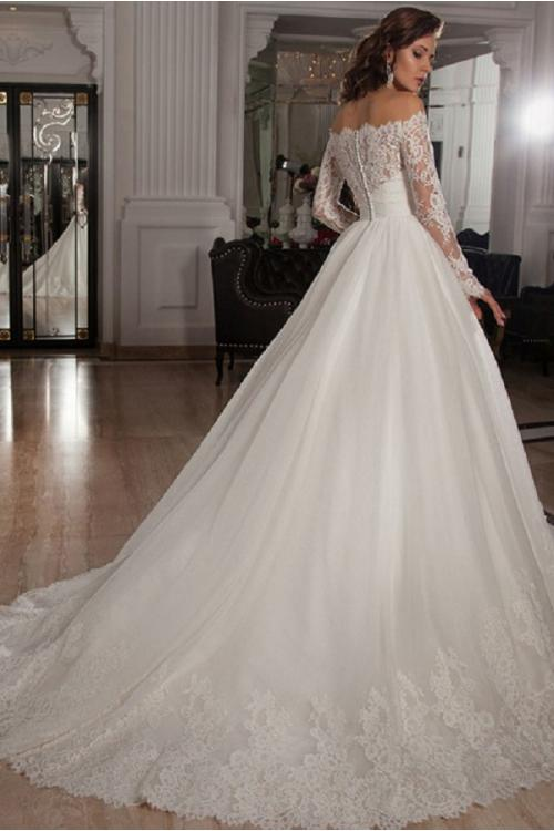 Off Shoulder Long Sleeves A-line Lace overlay Tulle Wedding Dress with Crystal Belt