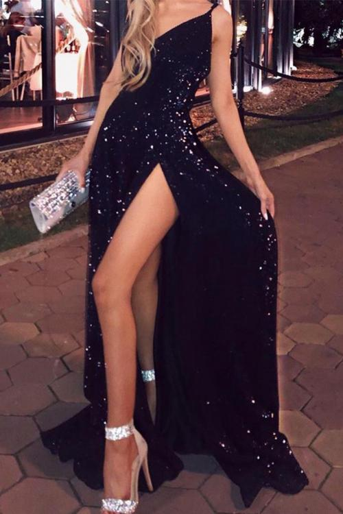 One Shoulder Sleeveless Sequins Floor-length Long Evening Dress
