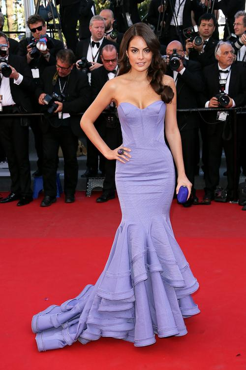 Gorgeous 66th Cannes Film Festival 2013 Red Carpet Ximena Navarrete Lavender Designer Prom Dress