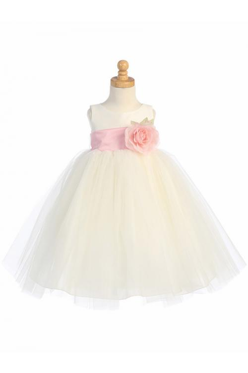 Sleeveless Tulle Baby Dresses with Flower and Bowknot