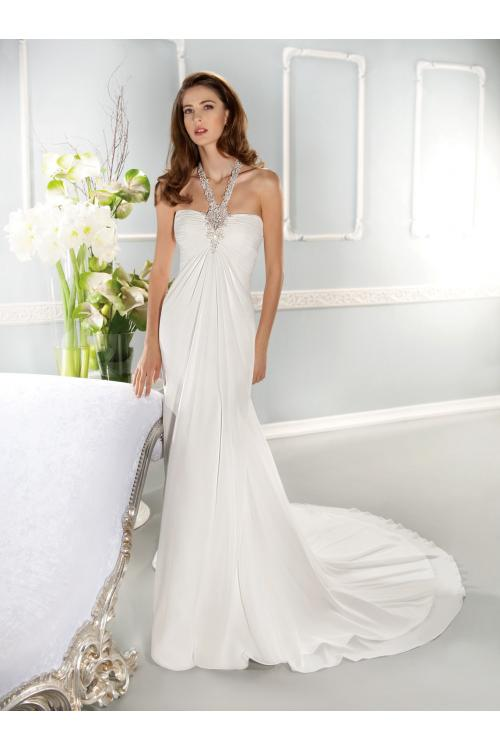 Charming Sheath/Column Halter Beading Sweep/Brush Train Chiffon Wedding Dresses