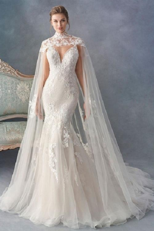 Trumpet/Mermaid Deep V-neck Sleeveless Lace Appliques Court Train Long Tulle Wedding Dresses