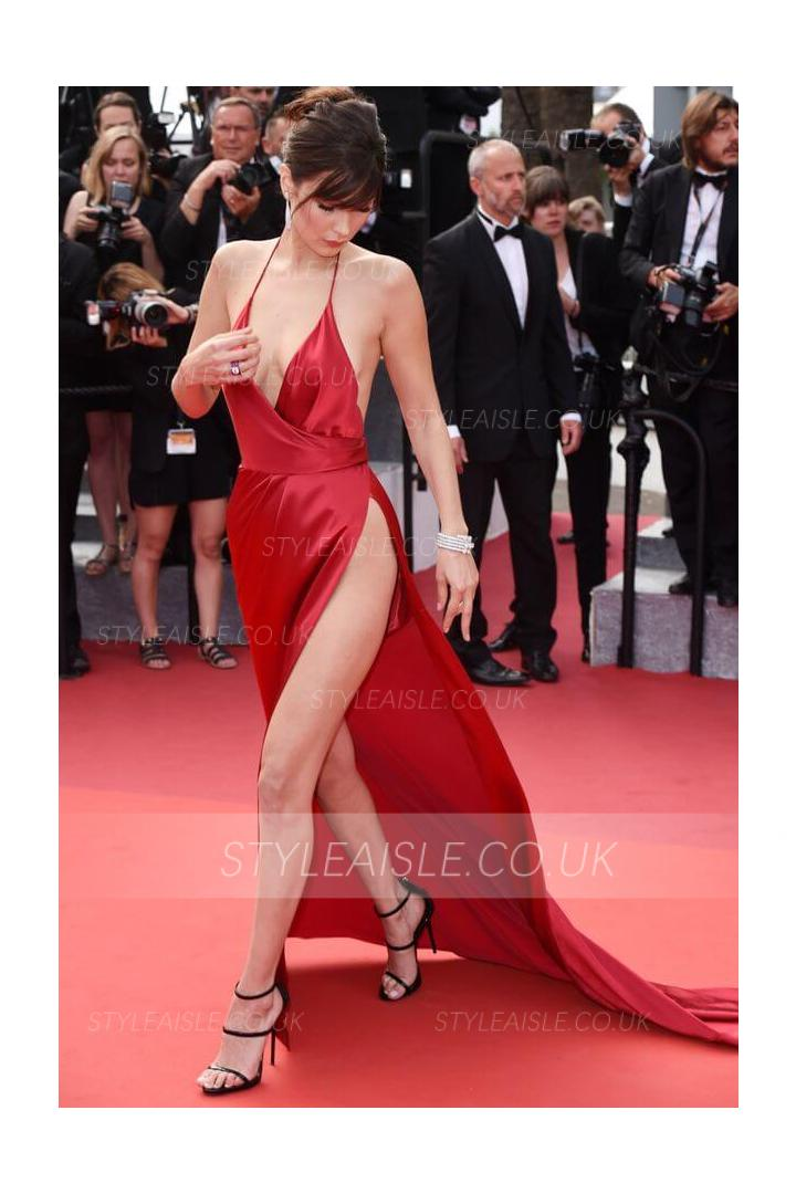Bella Hadid Sexy Cannes Film Festival Red Hater Neck Satin Prom Dress