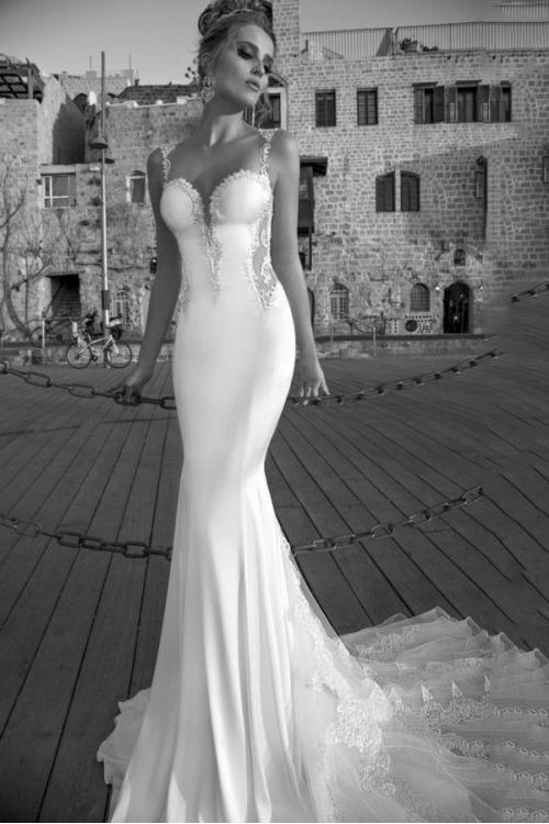 Sexy Meramid Lace Straps Long White Jersey Wedding Dress