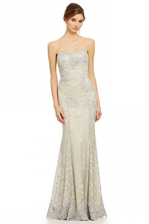Floor-length Mermaid Strapless Sleeveless Long Lace Mother of the Bride Dresses with Appliques&Buttons
