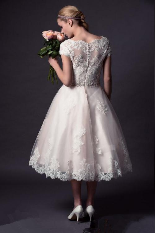 Tea Length V Neck Cap Sleeved Lace over Tulle Wedding Dress