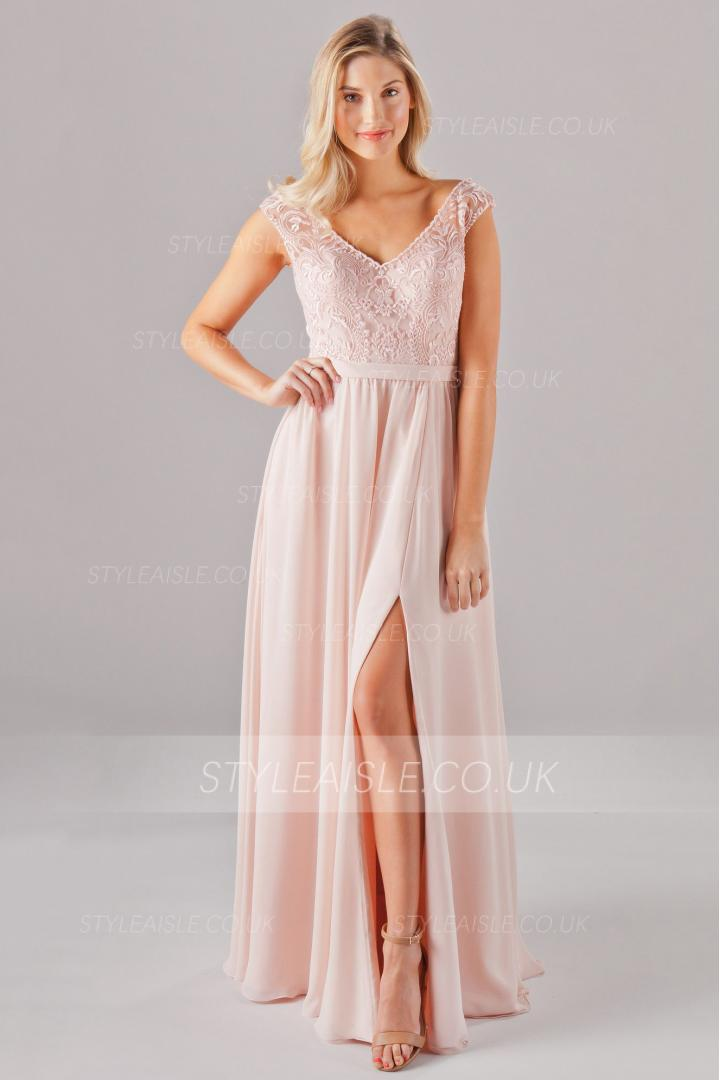 Blush Lace Embroidery Long Chiffon Bridesmaid Dress High Slit with Ribbon
