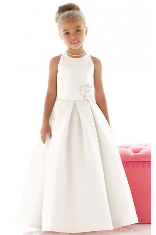 Natural Square Sleeveless Satin Zipper Flower Girl Dresses