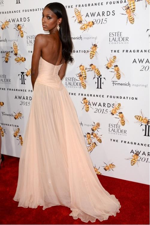 Elegant jasmine tookes 2017 fragrance foundation-awards Inspired Long Beach Style Chiffon prom Dress