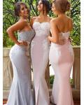 Charming Lace Appliques Straples Sweetheart Trumpet Long Chiffon Rustic Bridesmaid Dress