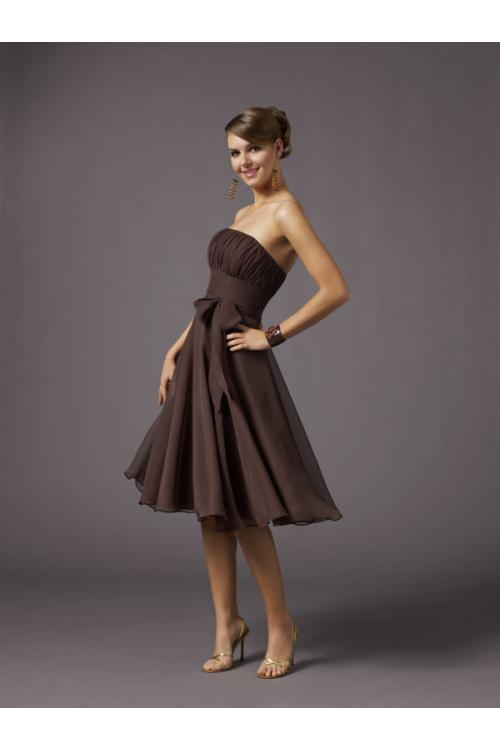 Nectarean A-line Strapless Ruching Knee-length Chiffon Bridesmaid Dresses
