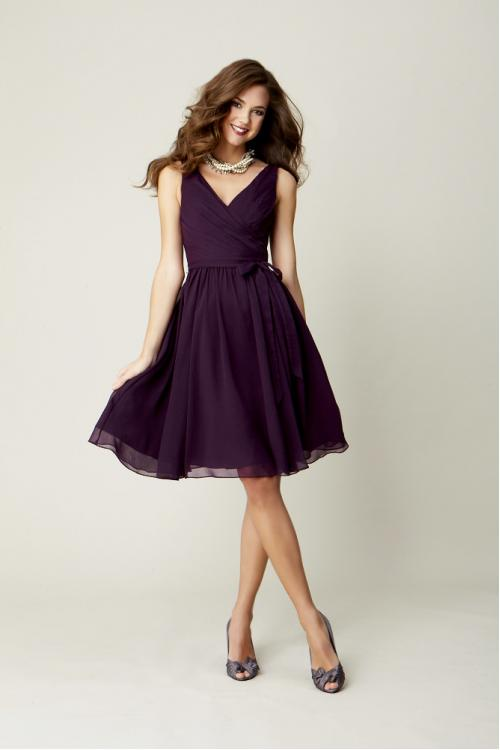 Pretty Knee Length Pleated Bodice Rustic Chiffon Bridesmaid Dress