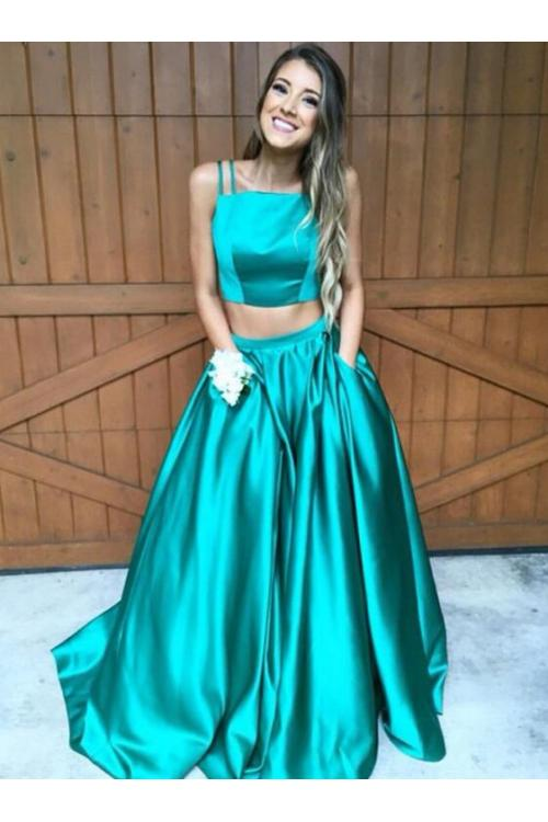 Two Piece Spaghetti Straps A-line Puffy Satin Prom Dress