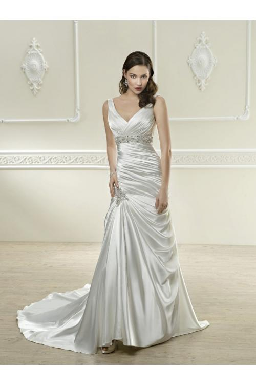 Sexy A-line V-neck Beading&Sequins Ruching Sweep/Brush Train Satin Wedding Dresses