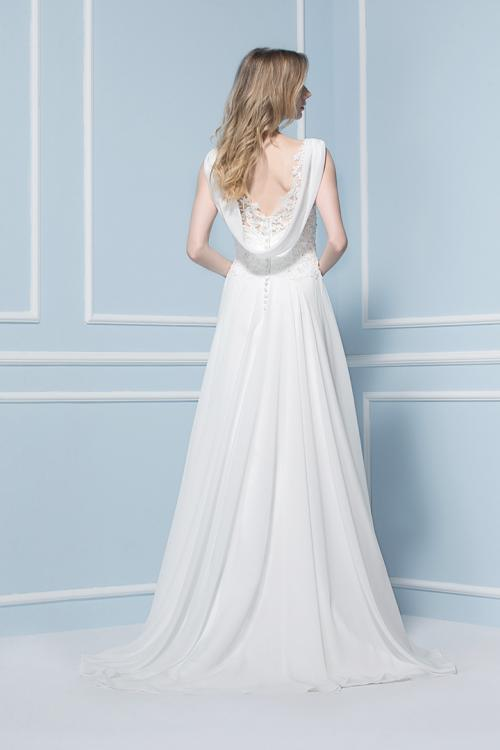 Elegant V-neck Sequin Lace Sweep/Brush Train Chiffon Wedding Dresses