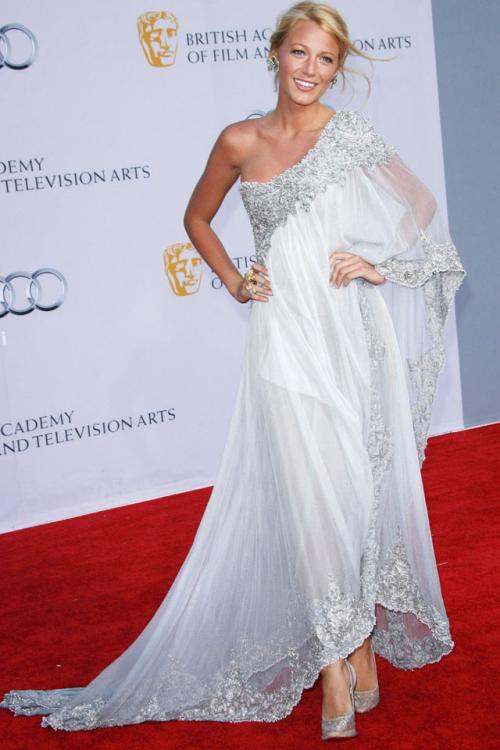 Vintage Boho Blake Lively Best Dressed BAFTA One Flutter Sleeve White Chiffon Lace Prom Dress