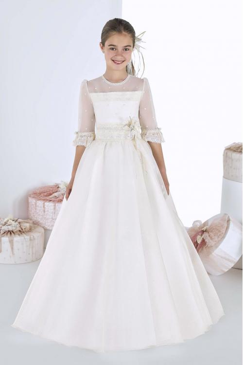 Vintage Half Sleeves Lace Long A-line Ivory Organza First Holy Communion Dress