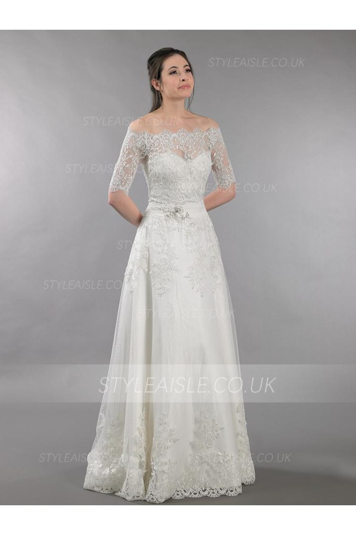 Off the Shoulder Leaves Embroidered Lace A-line Wedding Dress