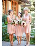 A-line V-neck Sleeveless Pleated Knee-length Short Bridesmaid Dress