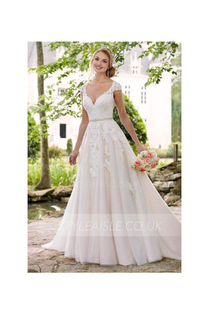 Beautiful V Neck A-line Princess Wedding Dress Lace Appliques with Sash